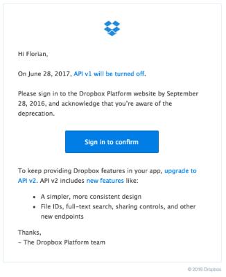 Dropbox Node js API - How to upgrade from v1 to v2 with Node